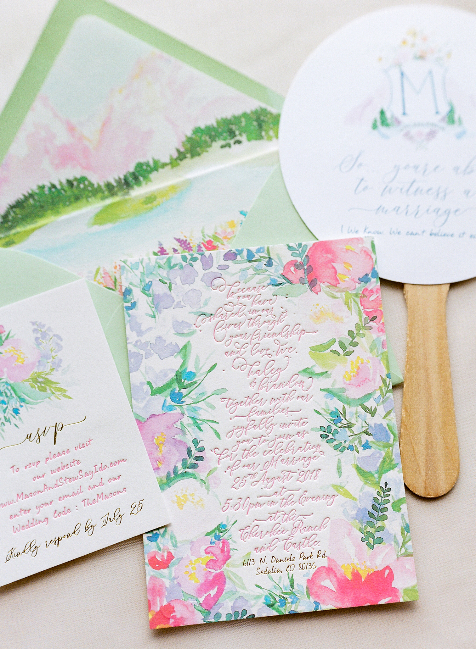 Wedding Photographers Colorado, Custom Wedding Invitations, Letterpress, Destination Weddings, Calligraphy Featured in Brides