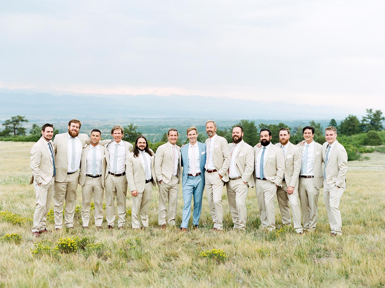 Wedding Photographers Colorado, Mountain Top Weddings, Groomsmen in Suits