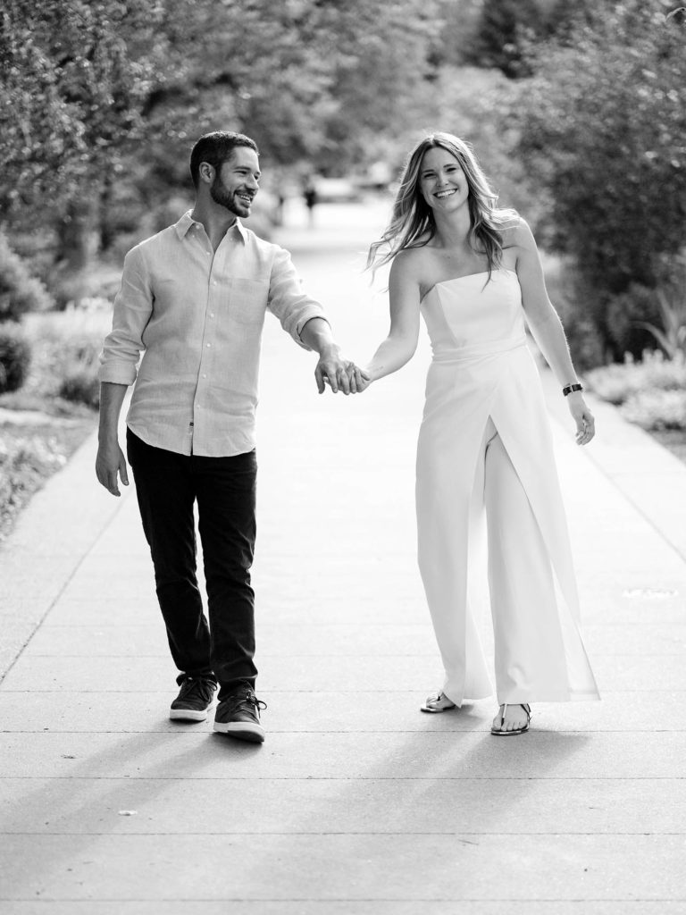 Denver Engagement Photographers, Colorado wedding photos, couple holding hands in botanical gardens, Danielle DeFiore photography