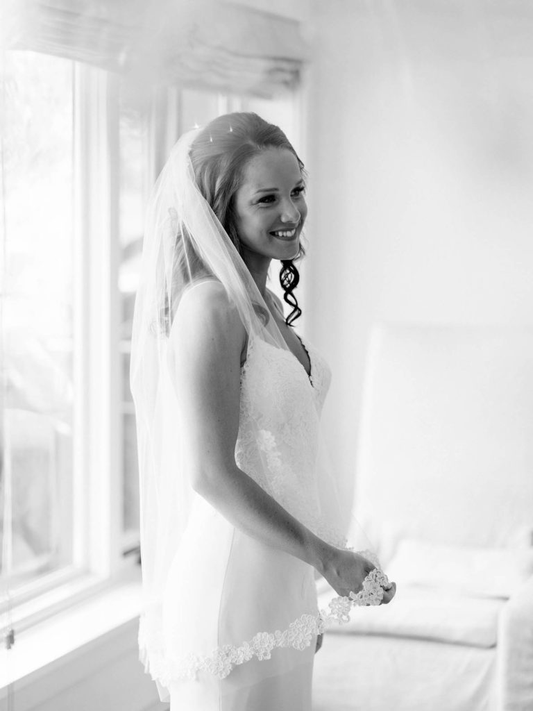 Romantic Mountain Vail Wedding, Bride with dress, Black and White