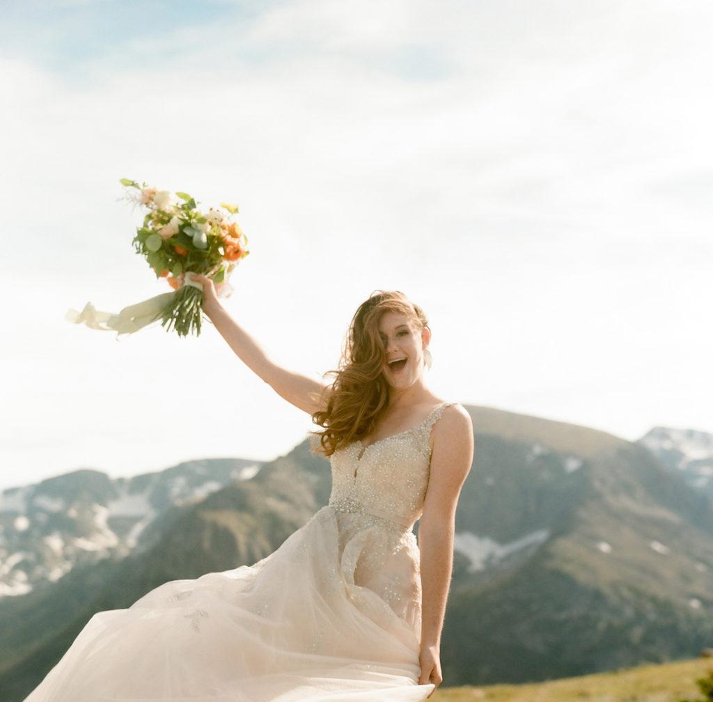 Aspen wedding photography, bride on mountains, colorful mountain photos, bride smiling